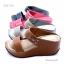 รองเท้าแตะส้นเตารีด สไตล์ลำลอง สายคาดสองตอน (สีน้ำตาล ) thumbnail 5