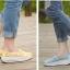 รองเท้าผ้าใบลูกไม้สีเหลือง ผ้าลูกไม้โปร่งใส่สบาย เสริมส้น (สีเหลือง ) thumbnail 5