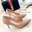 รองเท้าคัทชู ส้นสูง หัวแหลมแต่สีทอง ผ้าซาติน (สีกากี ) thumbnail 2