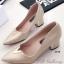 รองเท้าคัทชู หัวแหลม หน้าวี หนังซัฟฟีโน่ (สีทอง )