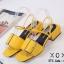 รองเท้าส้นเตี้ยรัดส้นสีเหลือง วัสดุพียู ส้นไม้ (สีเหลือง ) thumbnail 5