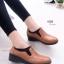 รองเท้าคัทชูเพื่อสุขภาพ สไตล์Oxford ขอบผ้ายืด (สีน้ำตาล )