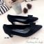 รองเท้าคัทชู ส้นสูง หัวแหลม แต่งโบว์ (สีดำ ) thumbnail 2