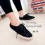รองเท้าผ้าใบ ลายลูกไม้ ผ้าโครเชถัก พื้นหุ้มเชือกปอ (สีดำ ) thumbnail 2