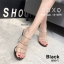 รองเท้าส้นสูงรัดส้นสีดำ พลาสติกในไม่บาดเท้า ส้นแก้ว (สีดำ ) thumbnail 3