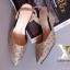 รองเท้าส้นเตารีด เปิดส้น หัวแหลม ผ้าทอลายLV (สีครีม ) thumbnail 5