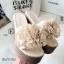 รองเท้าส้นเตารีดสีครีม เปิดส้น แต่งดอกไม้ (สีครีม ) thumbnail 2