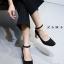 รองเท้าคัทชูส้นตันสีดำ หัวมน สไตล์ Zara (สีดำ ) thumbnail 2