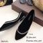 รองเท้าคัทชูส้นเตี้ยสีดำ หัวแหลม ขอบแต่งอะไหล่เพชร (สีดำ ) thumbnail 5