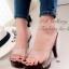 รองเท้าส้นสูง เปิดส้น สายคาดแบบใส (สีดำ )