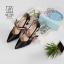 รองเท้าคัทชูส้นสูงสีดำ หัวแหลม เว้าข้าง (สีดำ ) thumbnail 4
