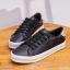 รองเท้าผ้าใบแฟชั่นสีดำ หนังพียู (สีดำ ) thumbnail 1