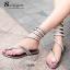 รองเท้าแตะพันข้อสีเงิน ลายงูประดับเพชร สไตล์ gladiater (สีเงิน ) thumbnail 3