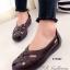 รองเท้าคัทชู แนววินเทจ หน้าไขว้ (สีน้ำตาล ) thumbnail 1