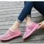 รองเท้าผ้าใบเสริมส้นสีชมพู ผ้าตาข่าย น้ำหนักเบา (สีชมพู ) thumbnail 3