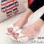 รองเท้าแตะ ส้นเตารีด แบบสวม แต่งโบว์ (สีดำ )