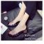รองเท้าส้นตันสีดำ พียูใสไม่บาดเท้า แต่งเพชร (สีดำ ) thumbnail 6