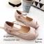 รองเท้าส้นตึกหุ้มส้นสีชมพู หนังนิ่ม แต่งสายรัด (สีชมพู ) thumbnail 3