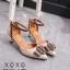 รองเท้าส้นเตี้ยรัดข้อสีแอปริคอท หัวแหลม แต่งอะไหล่ gucci (สีแอปริคอท ) thumbnail 2