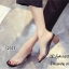 รองเท้าส้นตันสีดำ พียูใส ไม่บาดเท้า ส้นลายไม้ (สีดำ )