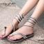 รองเท้าแตะพันข้อสีเงิน ลายงูประดับเพชร สไตล์ gladiater (สีเงิน ) thumbnail 4