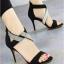 รองเท้าส้นสูง ปิดส้น รัดข้อเท้า สายคาดเพชร (สีดำ )
