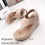 รองเท้าส้นเตารีดรัดส้นสีครีม Style Brand Chanel (สีครีม )