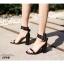 รองเท้าส้นตันรัดข้อสีดำ สายรัดข้อตอกตาไก่ (สีดำ ) thumbnail 2