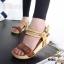 รองเท้าส้นเตารีด รัดส้น สายคาดตอกหมุด สไตล์วินเทจ (สีน้ำตาล ) thumbnail 5