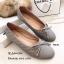 รองเท้าคัทชูส้นแบน หัวกลม หนังนิ่ม ประดับโบว์ (สีเทา ) thumbnail 2