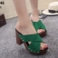รองเท้าส้นตันเปิดส้นสีเขียว สายคาดไขว้ (สีเขียว ) thumbnail 1