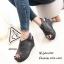 รองเท้าส้นเตารีดรัดส้นสีเทา แบบสวม เปิดหน้าเท้า (สีเทา )
