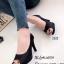 รองเท้าคัทชูส้นสูง หนังกลิตเตอร์ เปิดหน้าเท้า ซับในกำมะหยี่นุ่ม (สีดำ ) thumbnail 1