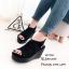 รองเท้าส้นเตารีดรัดส้นสีดำ แบบสวม เปิดหน้าเท้า (สีดำ ) thumbnail 4
