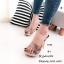 รองเท้าส้นสูงเปิดส้น พียูใสนิ่มไม่บาดเท้า ส้นไม้ (ดอกไม้สีดำ ) thumbnail 1
