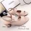 รองเท้าส้นสูง รัดส้น สายคาดเข็มขัดปรับระดับได้ ส้นเหลี่ยม (สีครีม ) thumbnail 4