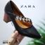 รองเท้าคัทชูส้นตันสีดำ หัวแหลม สไตล์ ZARA (สีดำ ) thumbnail 4