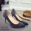 รองเท้าคัทชูส้นเข็มสีเทา หัวแหลม หนังสักราจ (สีเทา ) thumbnail 2
