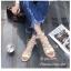 รองเท้าแตะรัดส้นสีครีม พันข้อ เส้นสานหน้า (สีครีม ) thumbnail 3