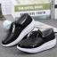 รองเท้าผ้าใบเสริมส้นสีดำ แต่งขอบหนังเงา ดีไซน์สวย (สีดำ ) thumbnail 4