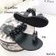 รองเท้าแตะผู้หญิงสีดำ สวมนิ้วโป้ง สายคาดประดับอะไหล่คริสตัล (สีดำ ) thumbnail 4