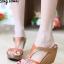 รองเท้าส้นเตารีด เปิดส้น แบบสวม ทรงเว้าข้าง (สีน้ำตาล )