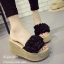 รองเท้าส้นเตารีดสีดำ เปิดส้น แต่งดอกไม้ (สีดำ ) thumbnail 3