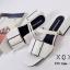 รองเท้าส้นเตี้ยรัดส้นสีขาว วัสดุพียู ส้นไม้ (สีขาว ) thumbnail 4
