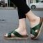 รองเท้าแตะเพื่อสุขภาพสีเขียว สายคาผ้าซาติน พื้นยางนิ่ม (สีเขียว ) thumbnail 1