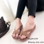 รองเท้าแตะแฟชั่นสีครีม แบบคีบ หนังนิ่มแบบสวม (สีครีม )