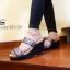 รองเท้าส้นเตารีดเปิดส้นสีเทา สไตล์ baobao พื้นสปองค์ (สีเทา )