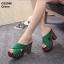 รองเท้าส้นตันเปิดส้นสีเขียว สายคาดไขว้ (สีเขียว ) thumbnail 2