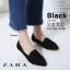 รองเท้าคัทชูส้นแบน หัวแหลม เย็บหนังซ้อน สไตล์Zara (สีดำ ) thumbnail 2