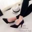 รองเท้าคัทชู ส้นสูง หัวแหลม หนังกลับ (สีดำ ) thumbnail 2